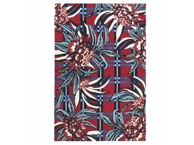 Rectangular wool rug with floral pattern EDEN