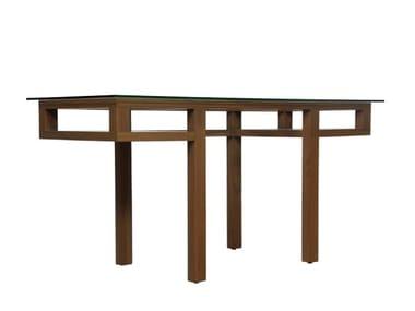 Scrivania rettangolare in legno e vetro con scaffali EDG-E | Scrivania in legno e vetro