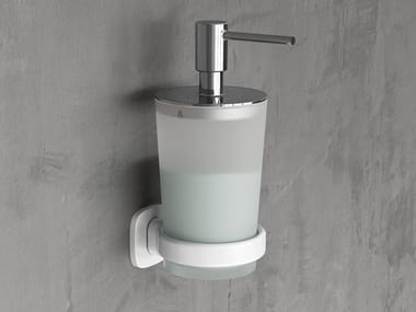 Wall-mounted metal and glass bathroom soap dispenser EDGE | Bathroom soap dispenser