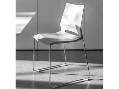 Sled base stackable chair with armrests EDGE