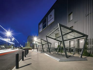 Glass and steel porch for Bicycles EDGE