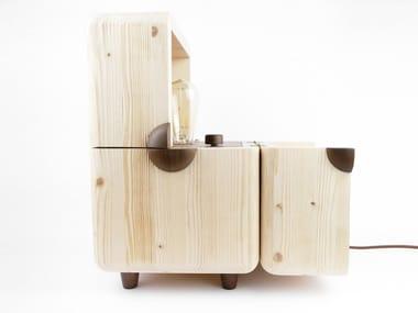 Handmade spruce table lamp EDISON