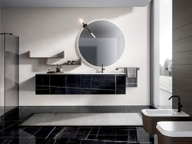 Wall-mounted porcelain stoneware vanity unit EDONÈ - INFINITO