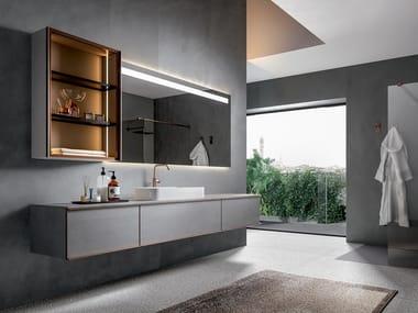 Wall-mounted porcelain stoneware vanity unit EDONÈ - RESART