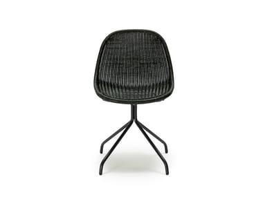 Trestle-based rattan chair EDWIN
