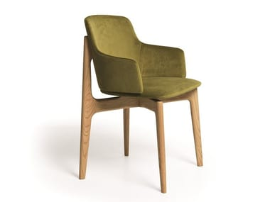 Upholstered fabric chair with armrests EGADI 02