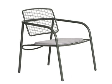 Contemporary style garden stainless steel easy chair with armrests EIJA METAL