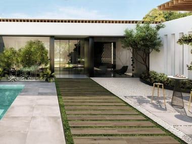 Porcelain stoneware outdoor floor tiles with wood effect EKHO T20