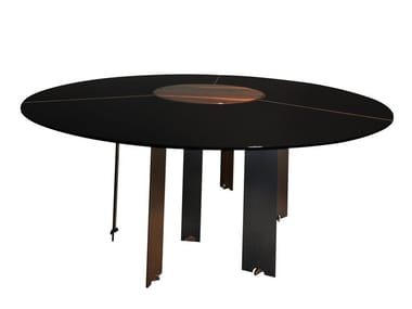 Lacquered wooden dining table with Lazy Susan EKIS | Lacquered table