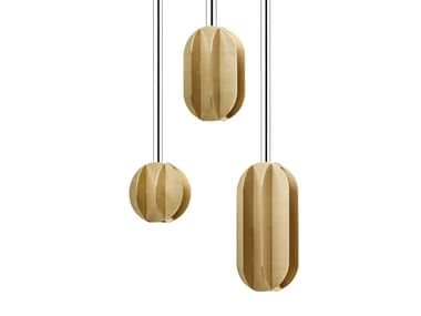 LED brass pendant lamp EL CS1 THREE LAMP SET