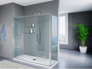 Crystal shower cabin with sliding door ELBA