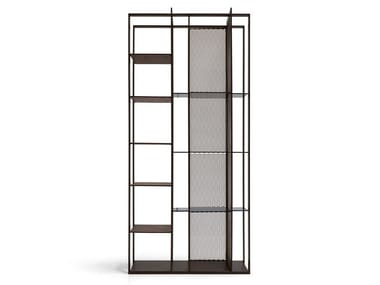 Double-sided wooden and metal bookcase ELECTRA