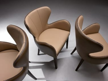 Upholstered leather chair ELEKTRA