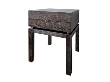 Square oak bedside table with drawers ELEMENTARE - 102 TNT