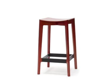 Wooden stool with footrest ELEMENTARY | Stool