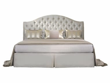 Fabric double bed with upholstered headboard ELENA