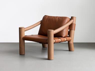 Poltrona in legno massello e pelle ELEPHANT | Poltrona