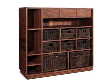 Walnut shelving unit with drawers ELGAR