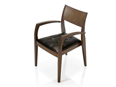 Cadeira de pele com braços ELIE | Cadeira com braços