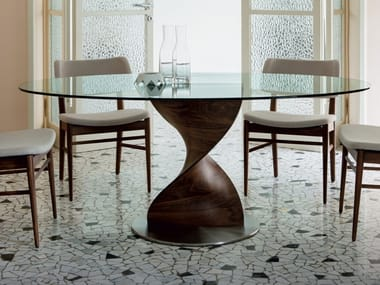 Oval solid wood table and crystal top ELIKA | Oval table
