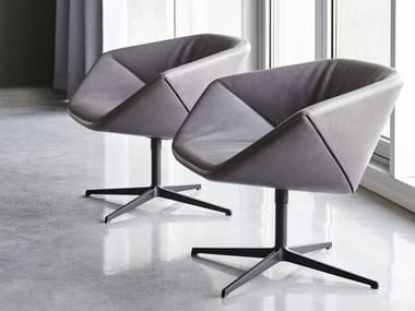 Upholstered fabric easy chair with 4-spoke base with armrests ELLA | Easy chair with 4-spoke base