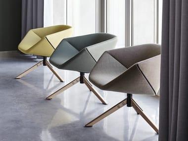 Upholstered trestle-based fabric easy chair with armrests ELLA | Trestle-based easy chair