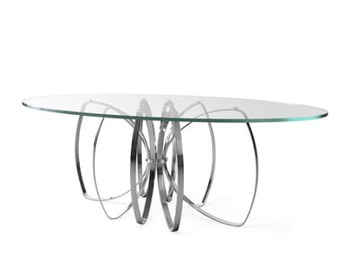 Oval glass and steel dining table ELLE | Oval table