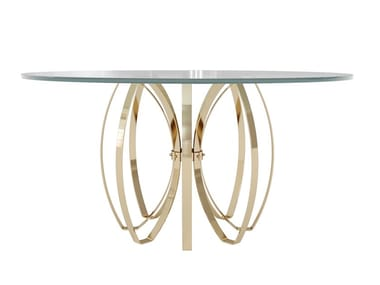 Round glass and steel dining table ELLE | Round table