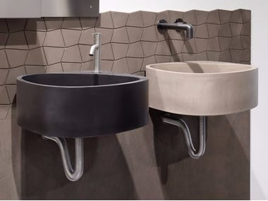 Wall-mounted cement washbasin ELLE3 | Cement washbasin