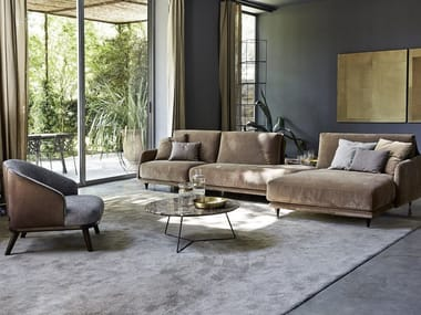 Sectional fabric sofa with chaise longue ELLIOT | Sofa with chaise longue