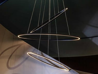 LED extruded aluminium pendant lamp ELLISSE TRIPLE