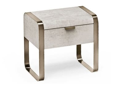 Rectangular leather bedside table with drawers ELVIS   Bedside table