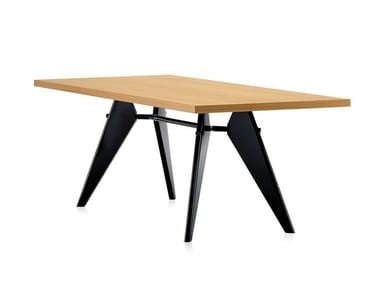 Rectangular dining table with wooden top and steel base EM TABLE
