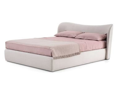 Fabric double bed with upholstered headboard EMBRACE
