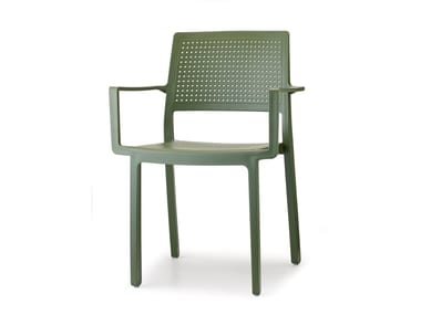 Technopolymer restaurant chair with armrests EMI | Chair with armrests