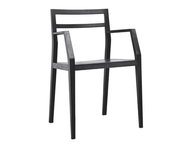 Open back chair with armrests EMMA