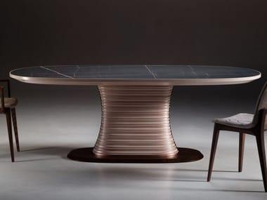 Oval eucalyptus living room table EMPIRE