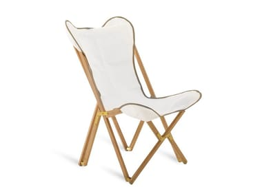 Folding armchair in teak and cotton EMY | Cotton easy chair