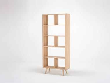 Open double-sided divider oak bookcase ENA | Divider bookcase