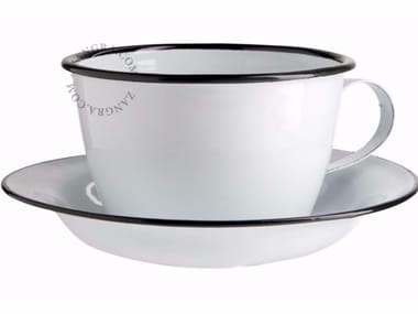Enamelled metal cup with saucer ENAMEL CUP