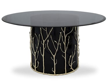 Lacquered round glass table ENCHANTED | Glass table