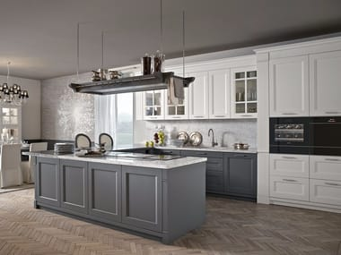 Solid Wood Kitchen With Peninsula ENGLISH MOOD   GRIGIO TAUPÉ/BIANCO GESSO
