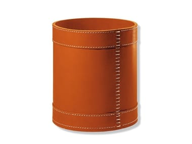 Tanned leather waste paper bin ENRICO | Waste paper bin