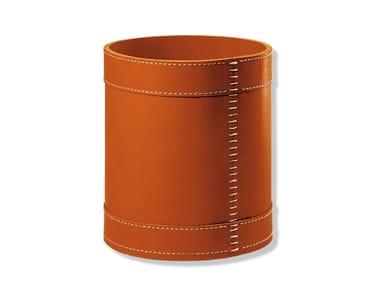 Tanned leather waste paper bin ENRICO | Waste paper bin