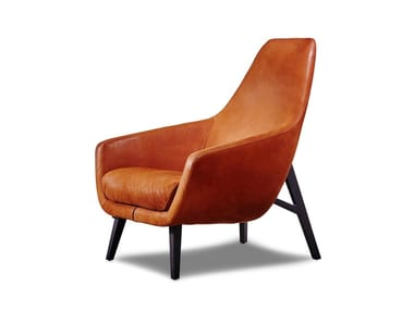 Leather armchair with armrests ENZO | Leather armchair