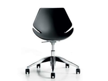 Swivel polyurethane task chair with 5-Spoke base with casters EON | Task chair with casters