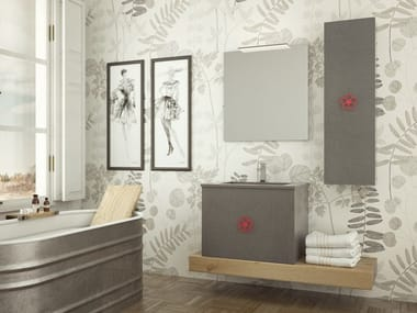 Single wall-mounted oak vanity unit with drawers EPOQUE EQ01