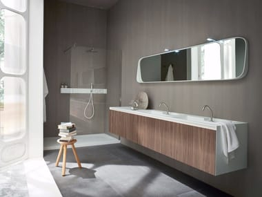 Móvel lavatório suspenso de Corian® com portas ERGO-NOMIC | Móvel lavatório duplo