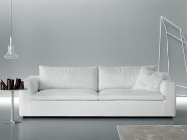 Leather sofa with removable cover ERIC SMART