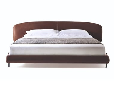 Leather bed double bed with upholstered headboard ERMIONE